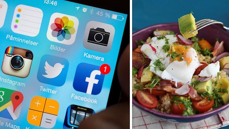 Sociala medier och mat.