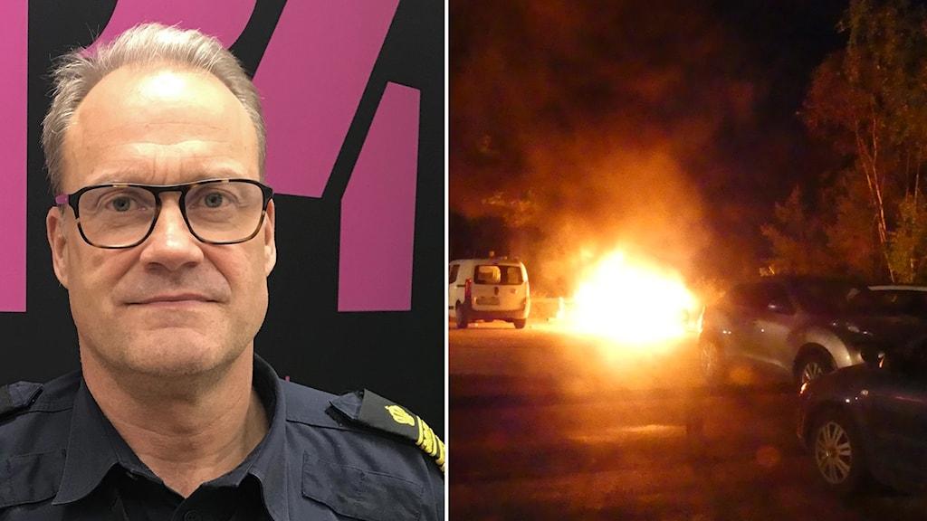 en polisman i fotomontage med en bild på en brinnande bil.