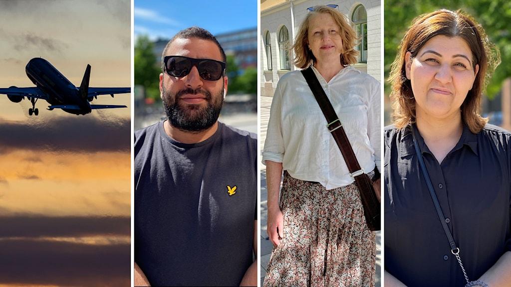 en bild på ett flygplan i ett montage med tre bilder på olika sommarklädda personer.