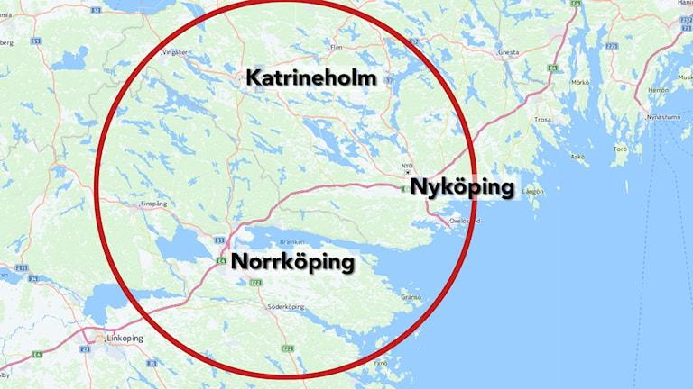 Karta över Sörmland och Krokekssändarens område