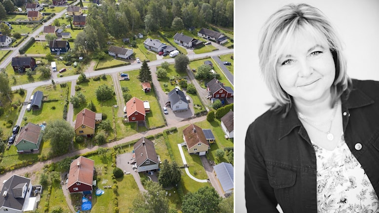 Mäklaren Anne Wallén, inklippt vid sidan av vybild över villaområde.