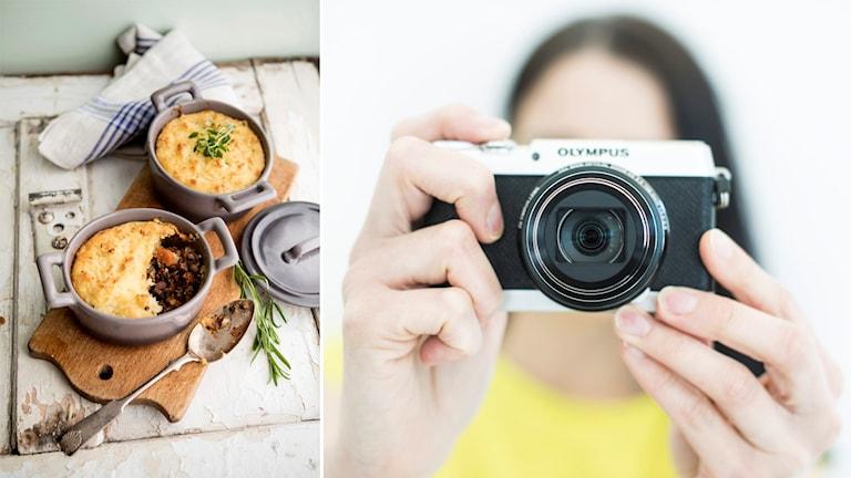 Bild på paj och fotograf