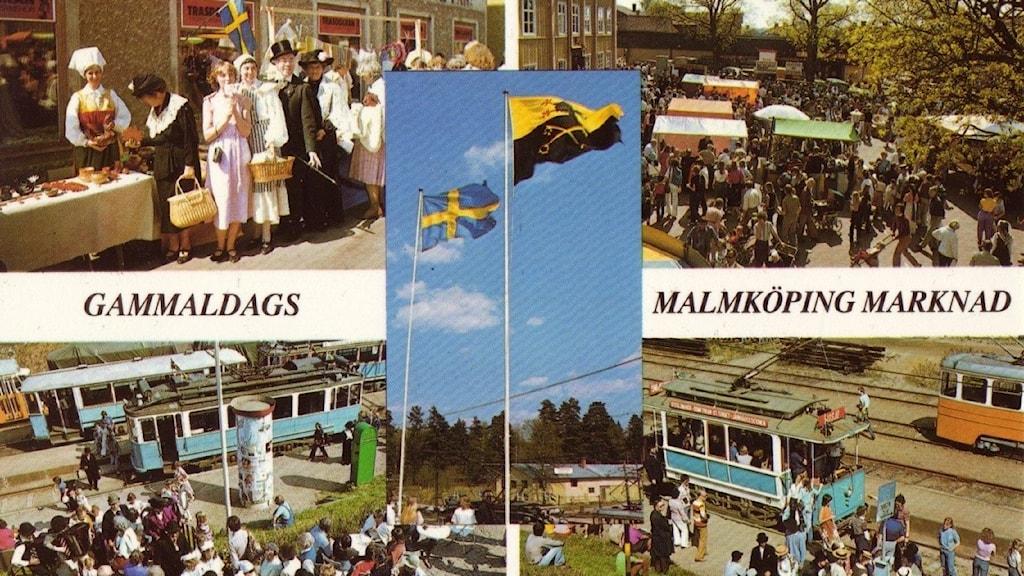 Vykortsbild på Gammaldags Malmköpings Marknad