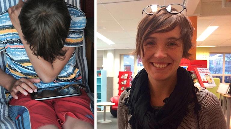 Två bilder: Läsande pojke och Hanna Rasmussen.