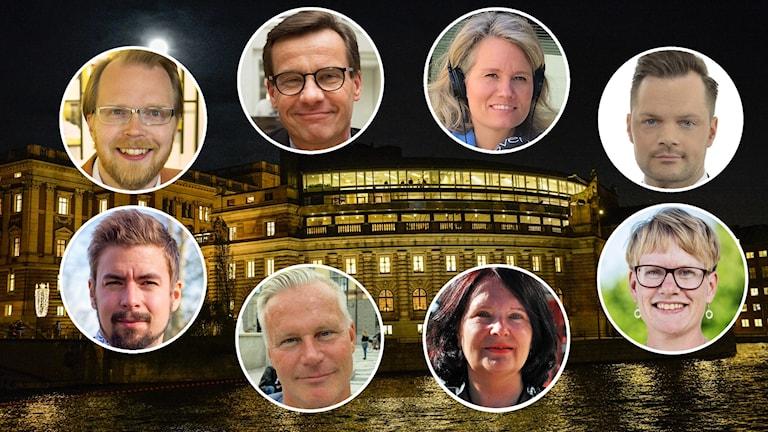 Åtta politiker kring riksdagsbyggnaden i Stockholm.