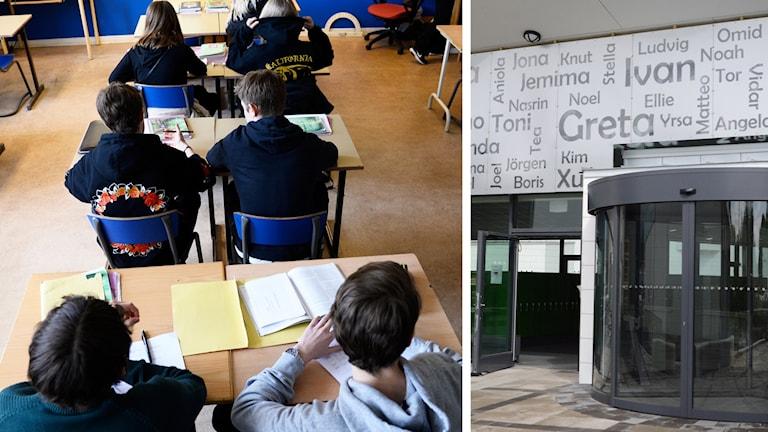 Ett klassrum och Nyköpings högstadiums entré.