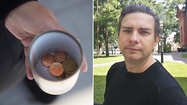 Jimmy Jansson (S), kommunstyrelsens ordförande i Eskilstuna inklippt vid sidan av mugg med mynt i.