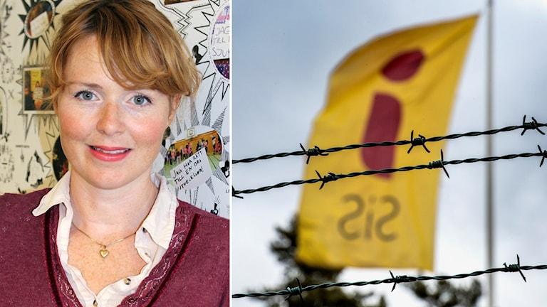 Bild på Emma Bennwik, barnrättsspecialist på BRIS. Bild på SiS-flagga bakom taggtråd.
