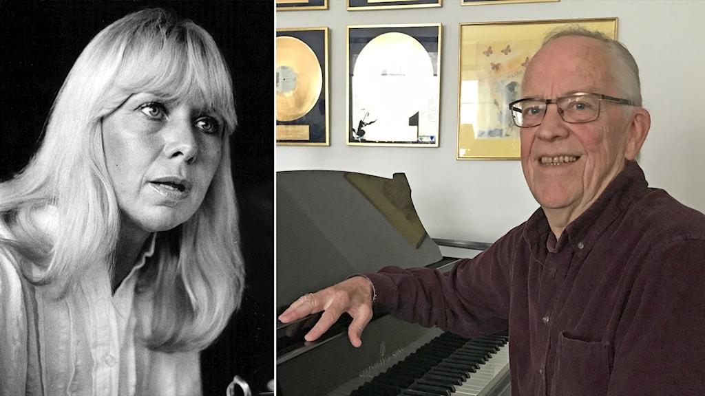 Pianisten Gunnar Sandvevärn i ett fotomontage med Anita Lindblom.