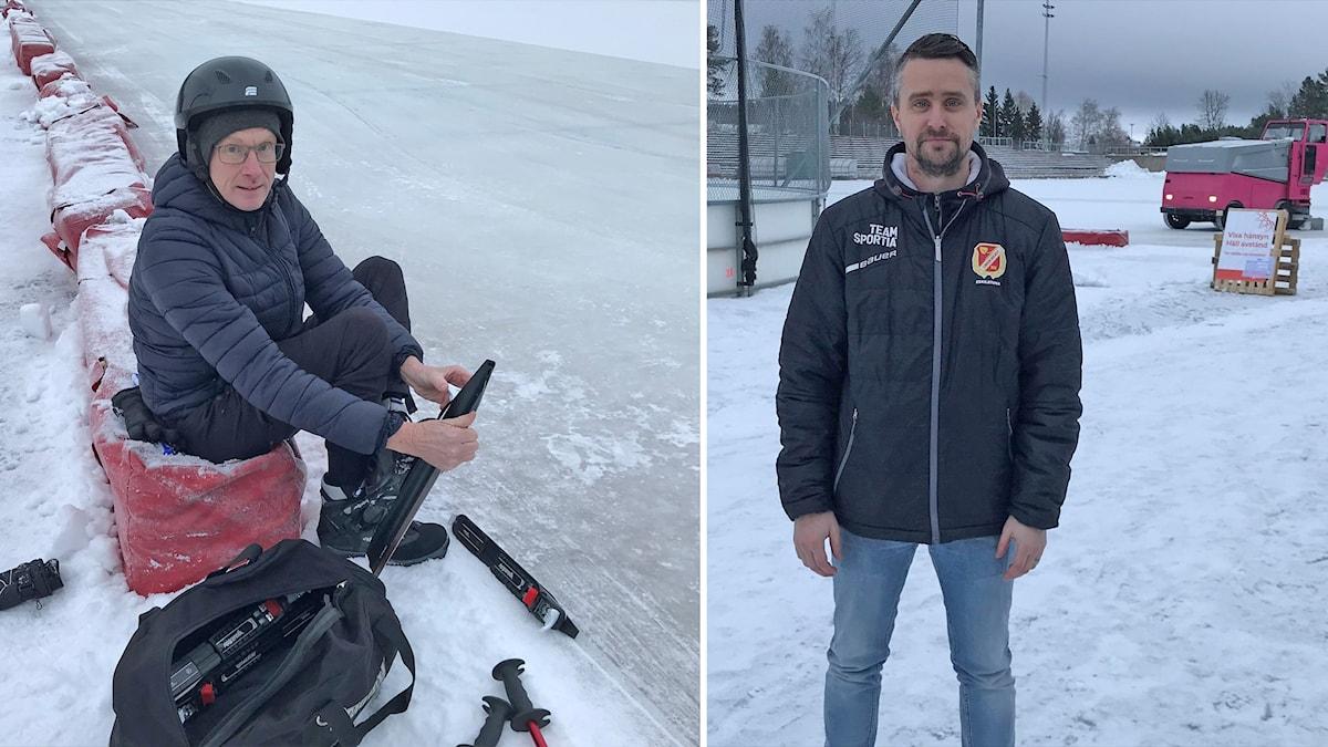 Johan Lainio, Linden hockey, och  Torbjörn Boberg från Kvicksund på isstadion i Eskilstuna.