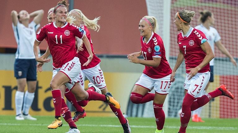Danmark jublar efter mål mot Norge. Foto: Berit Roald/TT.