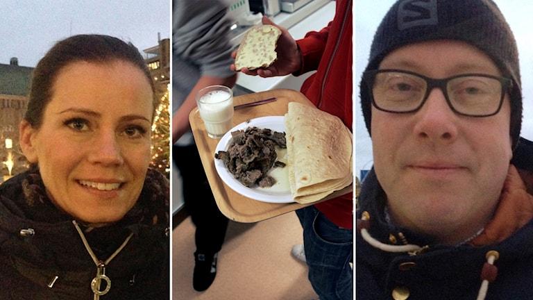 Tredelad bild, till vänster Camilla Ståhl Back, i mitten bild på skolmat, till höger Jörgen Danielsson.