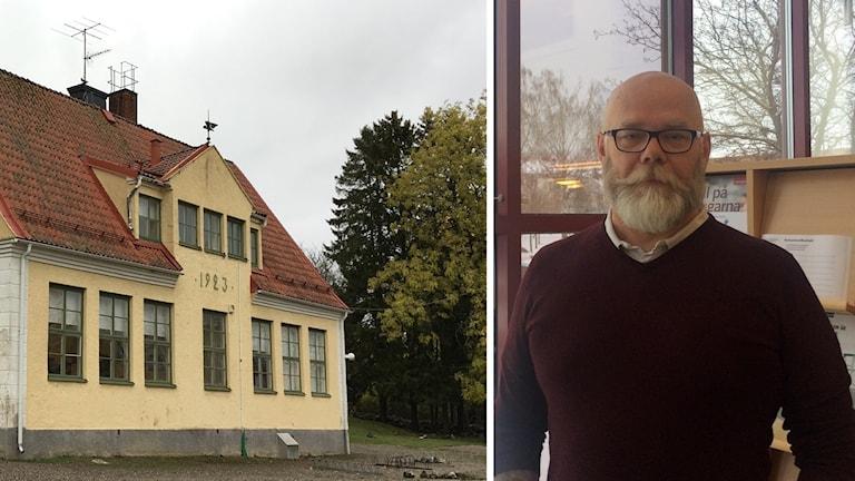 Ett montage av en skola och utbildningschefen i Strängnäs Tony Lööw