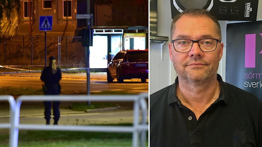 Polisen Thomas Karlsson i montage med en bild från en brottsplats.