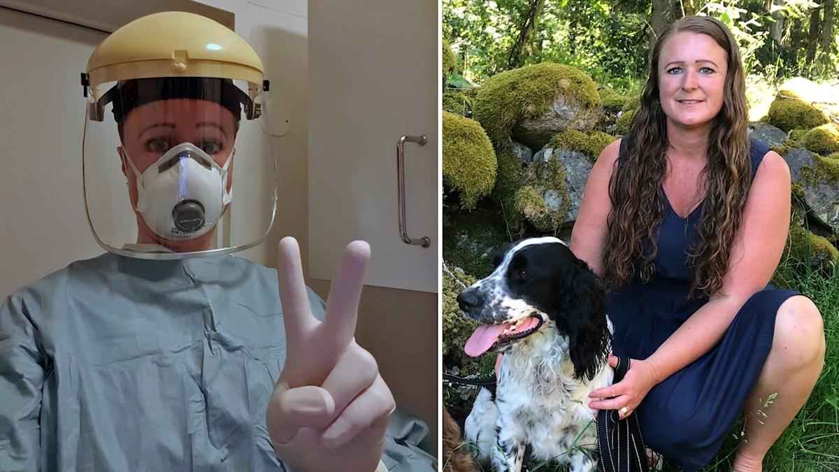 Två bilder på Katarina Humble: En där hon är klädd i skyddsutrustning och en bild i sommarklänning intill sin hund.