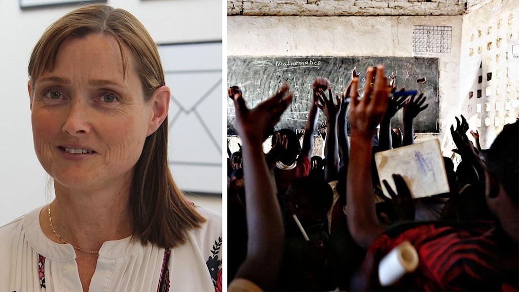 Katarina Bälter på MDH och en skolklass i afrika.