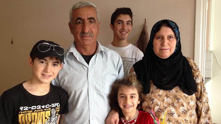 Haiyat Hussein med familj.
