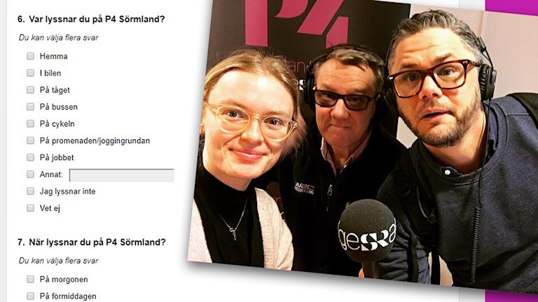Bild på några enkätfrågor och bild på radiomedarbetarna Linnea Svensson, Jonas Carnesten och Svante Ekberg.