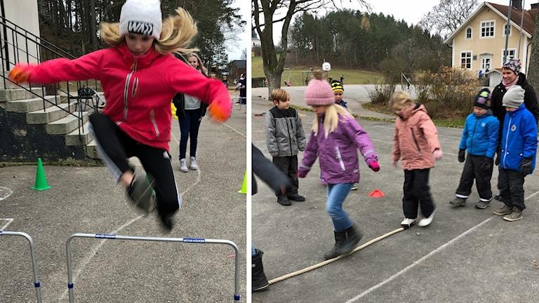 Barn hoppar och balanserar.