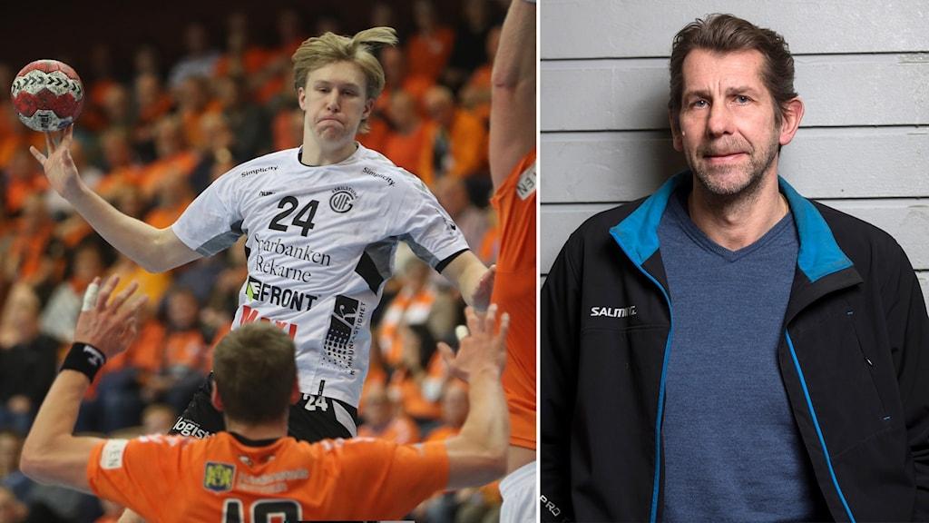 Eskilstunas Eric Johansson och Radiosportens handbollsexpert Magnus Wislander.