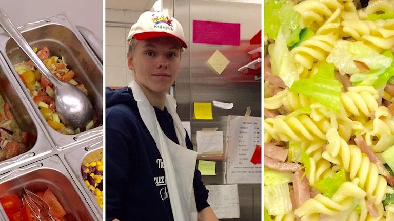 Grönsaker, pastasallad, Jonathan Karlsson förbereder lunch.