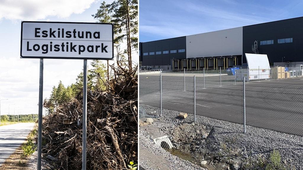 """Skylt där det står """"Eskilstuna Logistikpark"""", vid sidan av bild på lagerlokalen där Amazon kommer husera."""