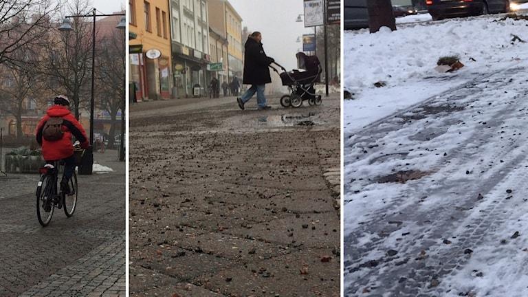 Cyklist, förälder med barnvagn, sandad cykelbana med snö.