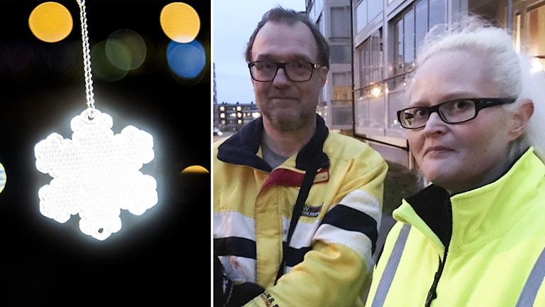Cine och Fredrik Derefeldt står i mörkret med reflexvästar. Inklippta vid sidan av reflex i mörkret.