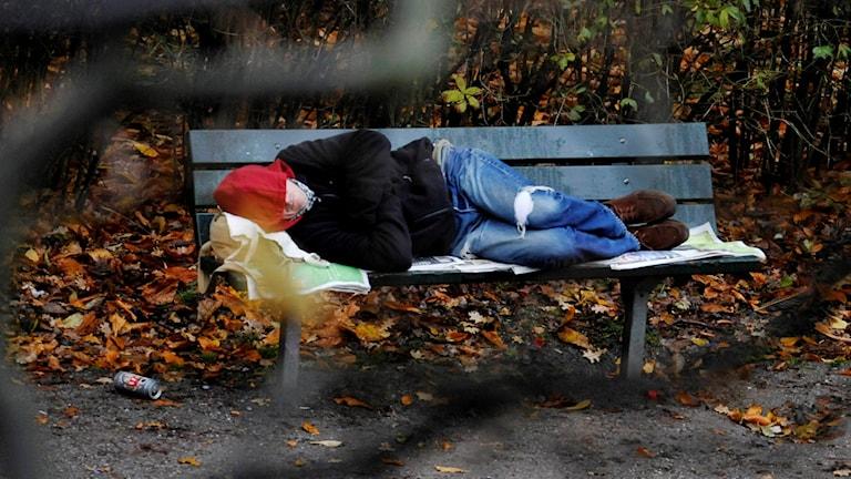 En person ligger på en parkbänk.