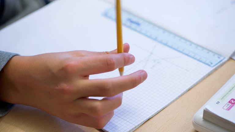 En hand håller en penna. Foto: Fredrik Sandberg/TT.
