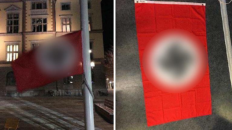Bilder på hakkorsflaggan som hissades på Fristadstorget i Eskilstuna.