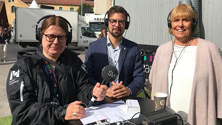 Annika Selin, Linus Lakso (MP) och Ewa Callhammar (L) i Almedalen