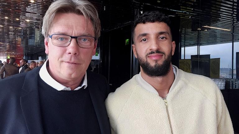 Pelle Olsson tränare och OMar Eddari spelare från AFC Eskilstuna.