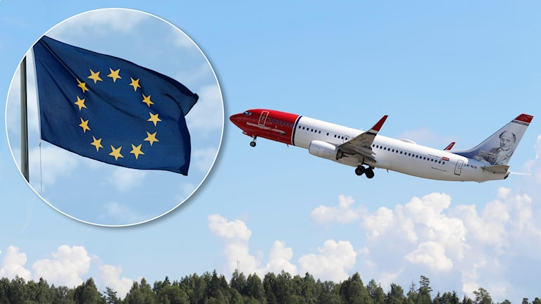 Flygplan med EU-flagga inflikt.