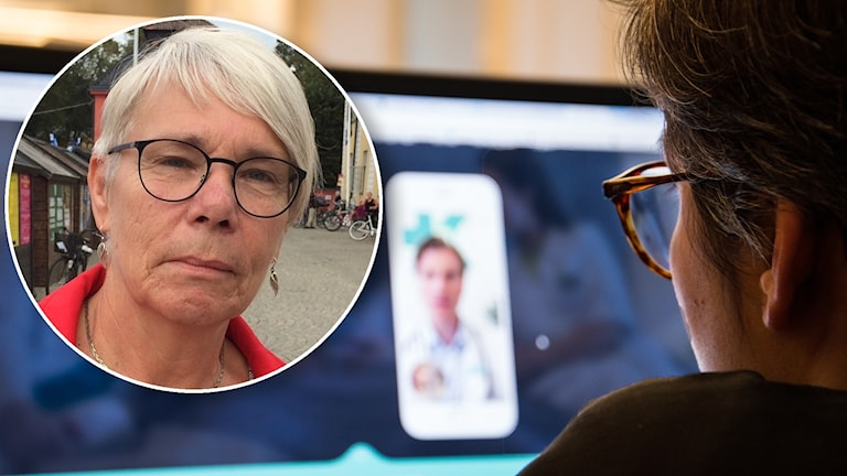 Monica Johansson (S), inflikt i bild över tjej som tittar på digital vårdtjänst på datorskärm.