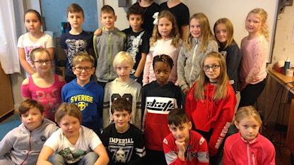 En skolklass på bild