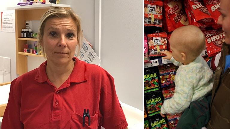 Annika Erikstedt och ett barn vid godishylla.