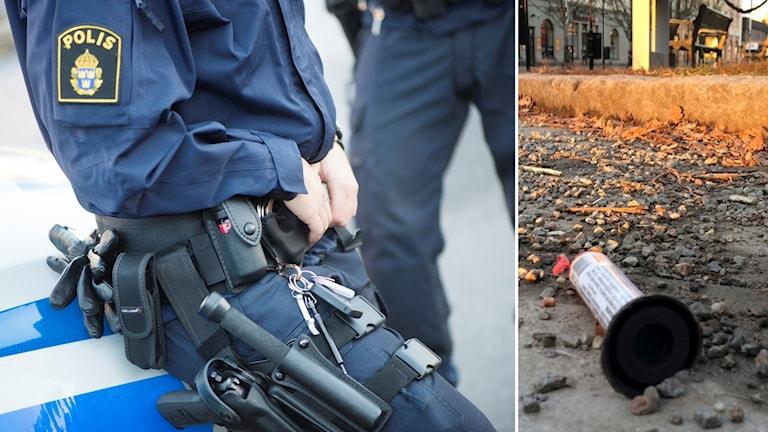Polisman bredvid sprängd smällare.