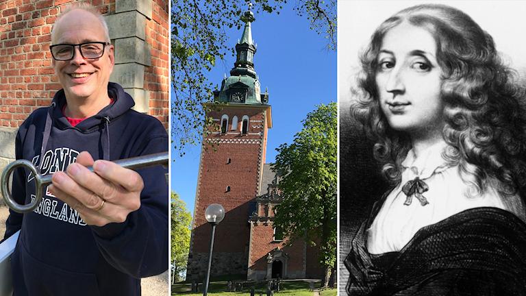 Kantorn Sven-Erik Sieurin vid Jäders kyrka. Till höger: Drottning Kristina (1626-1689)
