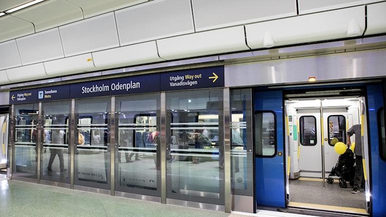 Interiörbild från nya citybanan som invigdes under söndagen i Stockholm. Foto: Christine Olsson/TT.