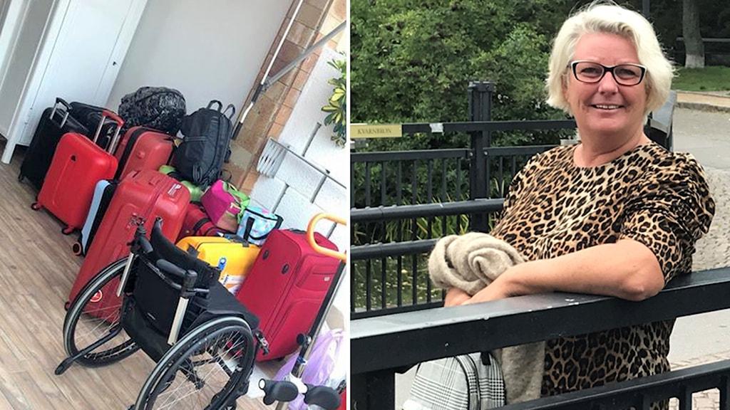 Lotta Westerberg i ett fotomontage med en bild på en rullstol och resväskor.