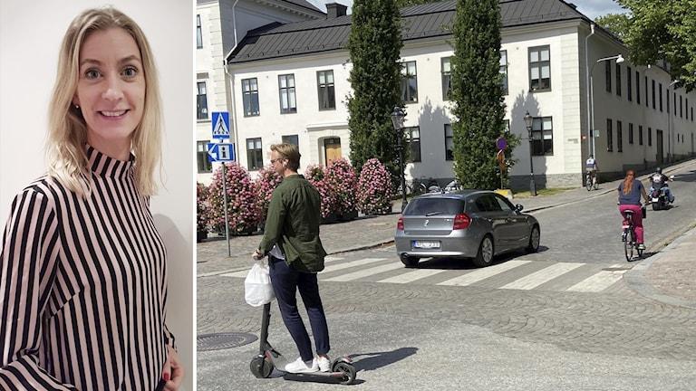 Maria Brantö, miljöstrateg på Nyköpings kommun i ett fotomantage med trafik i nyköping.