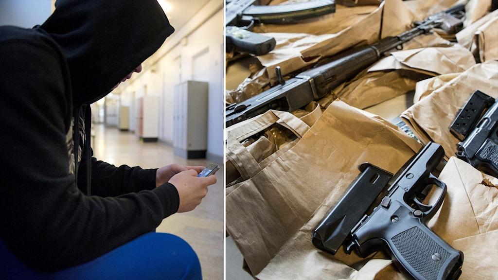 Bilden är arrangerad. Ung person i ett montage med beslagtagna vapen.