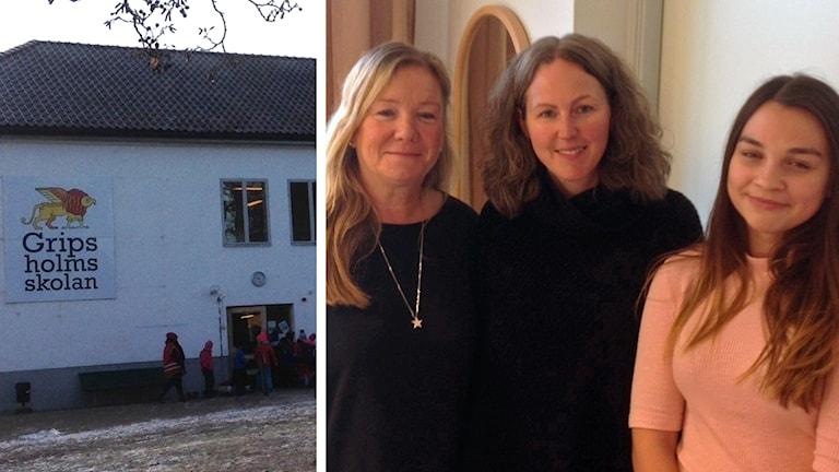 Rektor Nina Lidfors, lärare Ulrika Pernå och eleven Karolina Nylander.