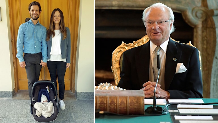 Carl Philip, Sofia och Gabriel. Till höger Kung Carl Gustaf