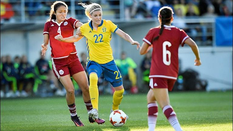 Eskilstuna Uniteds Olivia Schough finns inte med i Peter Gerhardssons första landslagstrupp.
