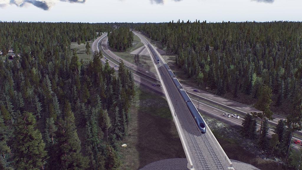 Trafikverket förslag på järnvägsbron över E4 i närheten av Sjösa i Nyköpingsområdet.