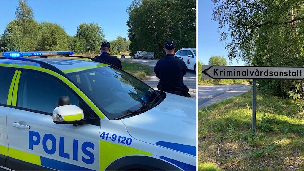 """Polisbil, två poliser och skylt med """"Kriminalvårdsanstalt""""."""