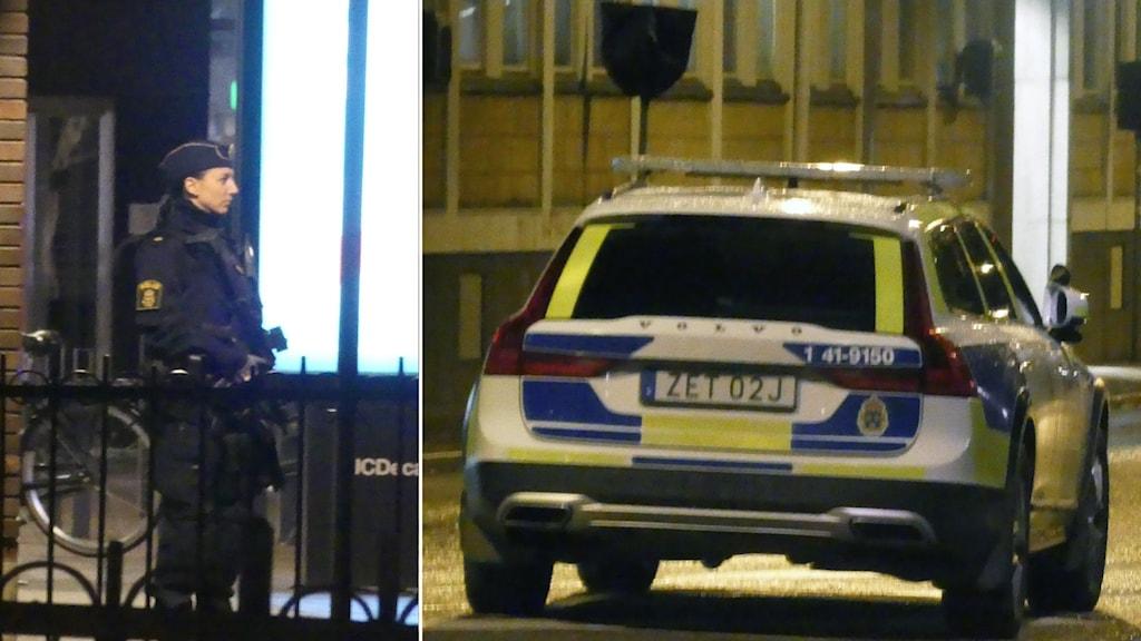 en polis med förstärkningvapen i fotomontage en bild på en polisbil.