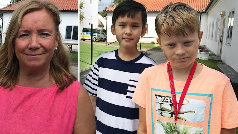 Nina Lindfors, rektor på Gripsholmsskolan ihopklippt med Alexander Nilsson och Theo Malmberg, elever Gripsholmsskolan